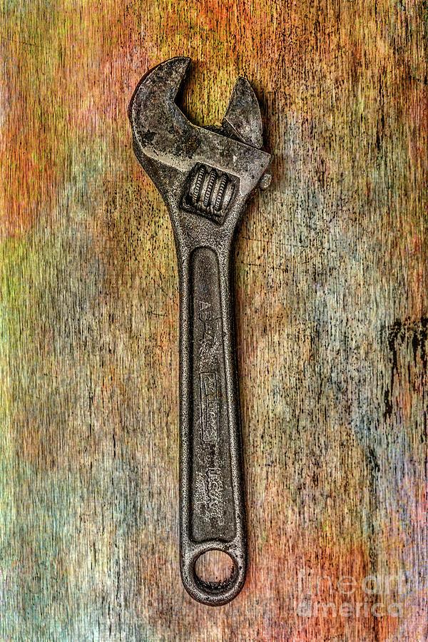 Pliers Digital Art - Tool on Rusty Metal Two by Randy Steele