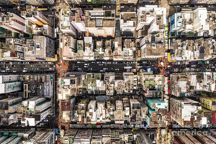 Top down view of the very crowded Sham Shui Po popular residenti by Didier Marti
