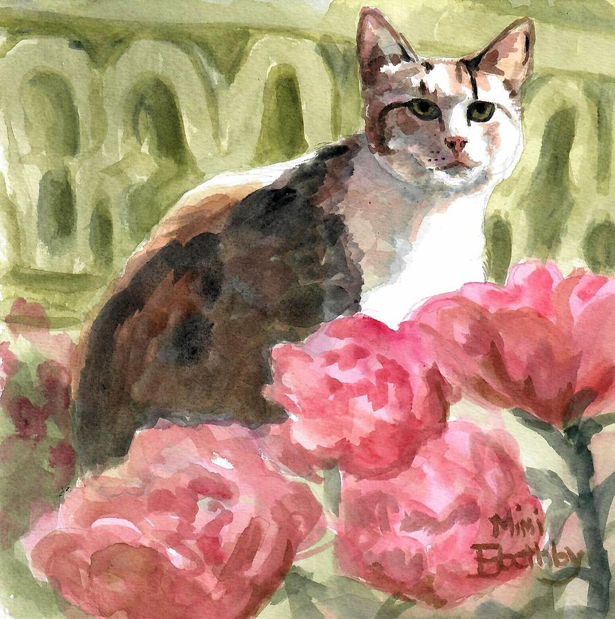 Torbie in the roses by Mimi Boothby