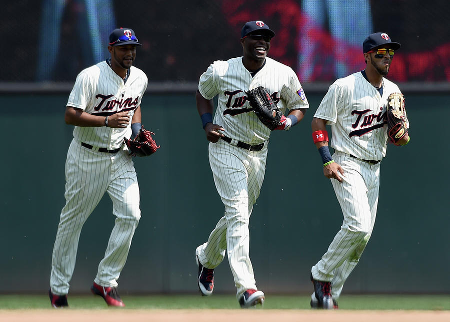 Torii Hunter, Aaron Hicks, and Eddie Rosario Photograph by Hannah Foslien