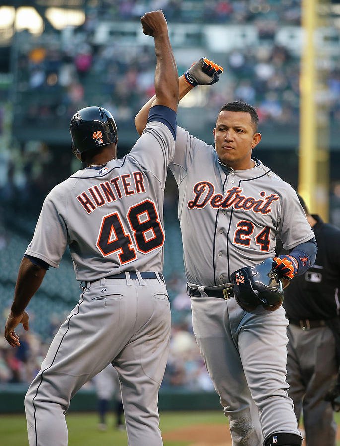 Torii Hunter and Miguel Cabrera Photograph by Otto Greule Jr