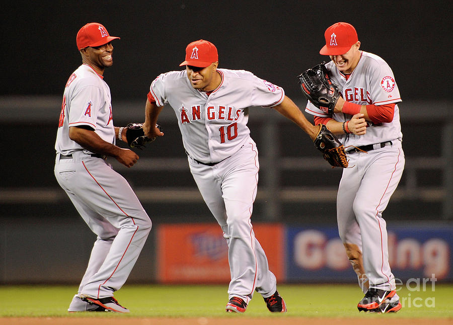 Torii Hunter, Vernon Wells, and Mike Trout Photograph by Hannah Foslien