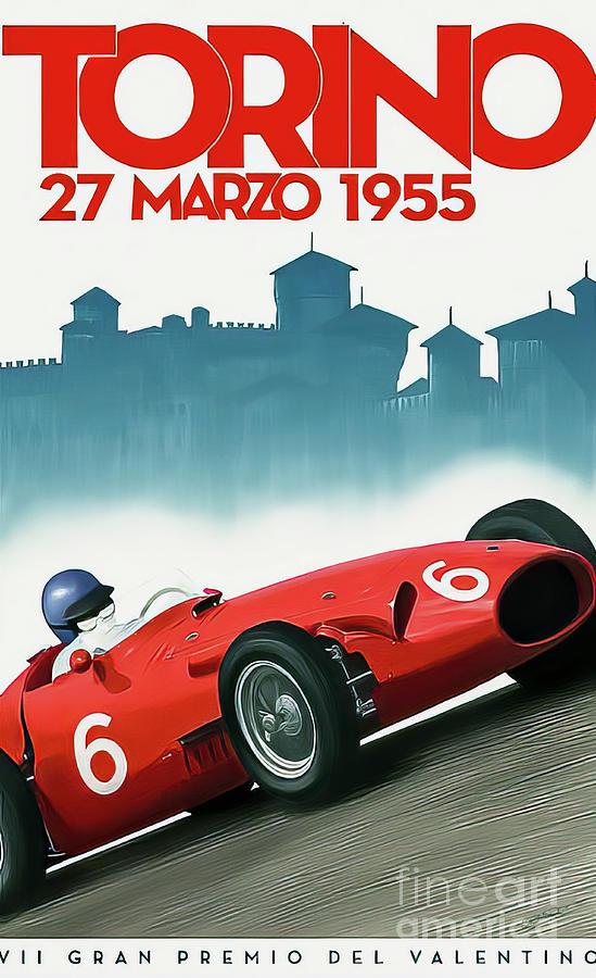 Torino Italy 1955 Grand Prix Drawing