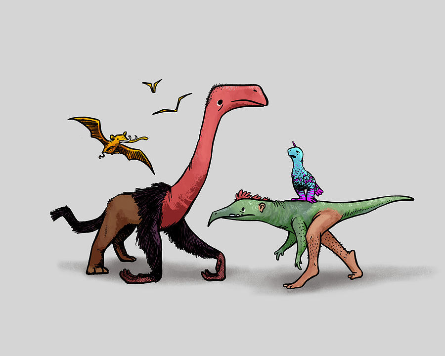 Dinosaurs Drawing - Totally Normal Dinosaurs by Claire DeWilde