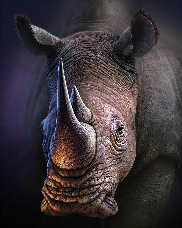 Rhino Digital Art - Tough Customer by Jerry LoFaro