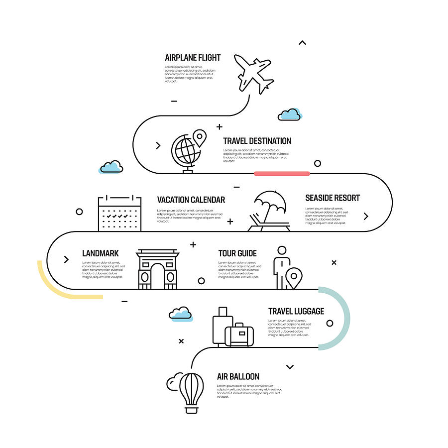 Tourism and Travel Vector Concept and Infographic Design Elements in Linear Style Drawing by Cnythzl