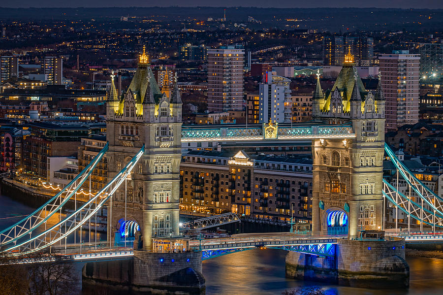 Tower Bridge Seen At Night In London. Photograph