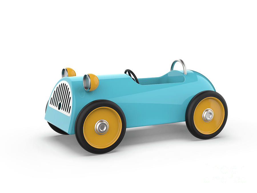 Toy Car Isolated On A White Background,3d Rendering Digital Art