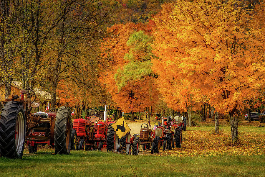 Tractors in Autumn Display by Jeff Folger
