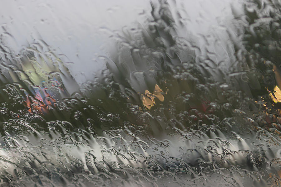 Traffic Blurred Through Rain Photograph