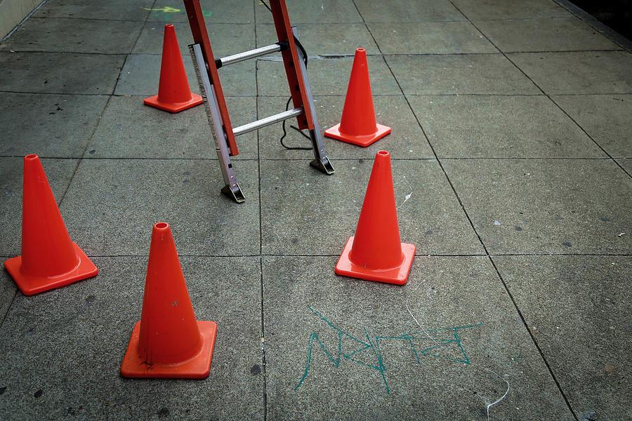Traffic Cones On Footpath Photograph by Alessandro Miccoli / EyeEm