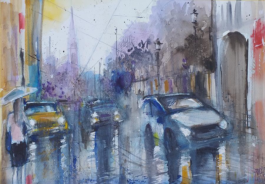 Traffic In Rainy City Painting