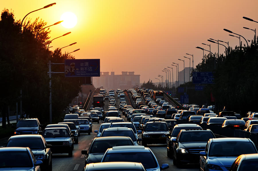 Traffic jam during sunset Photograph by Nora Carol Photography