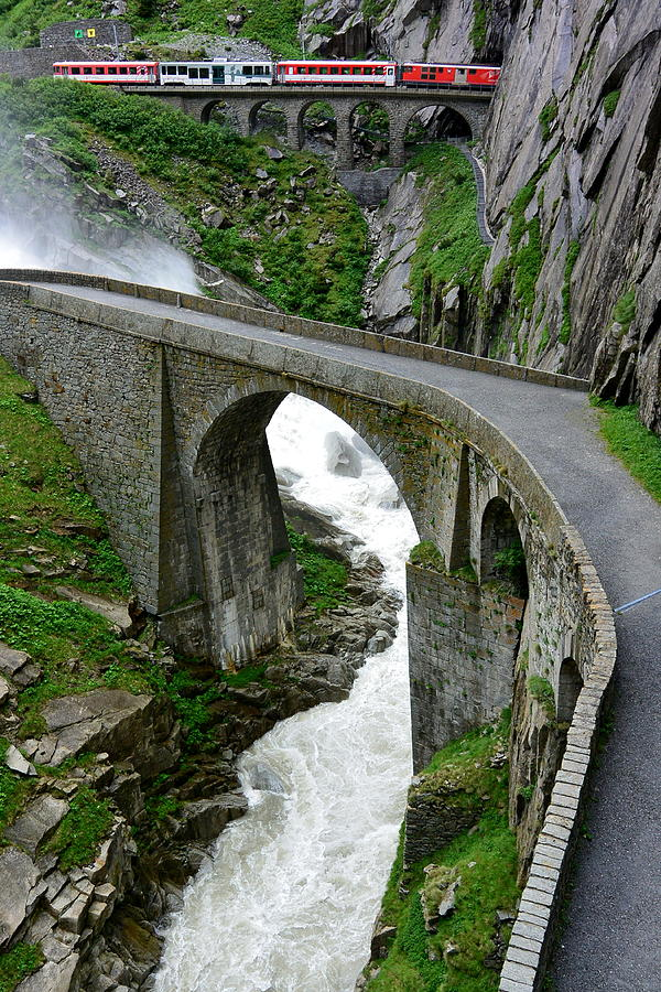Devil's Bridge Photograph - Train in the Swiss Alps by Two Small Potatoes