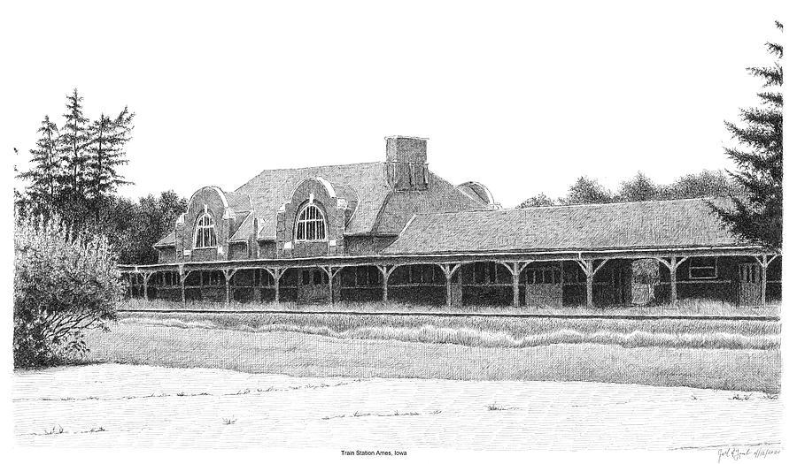 Train Station Ames Iowa Drawing By Joel Lueck
