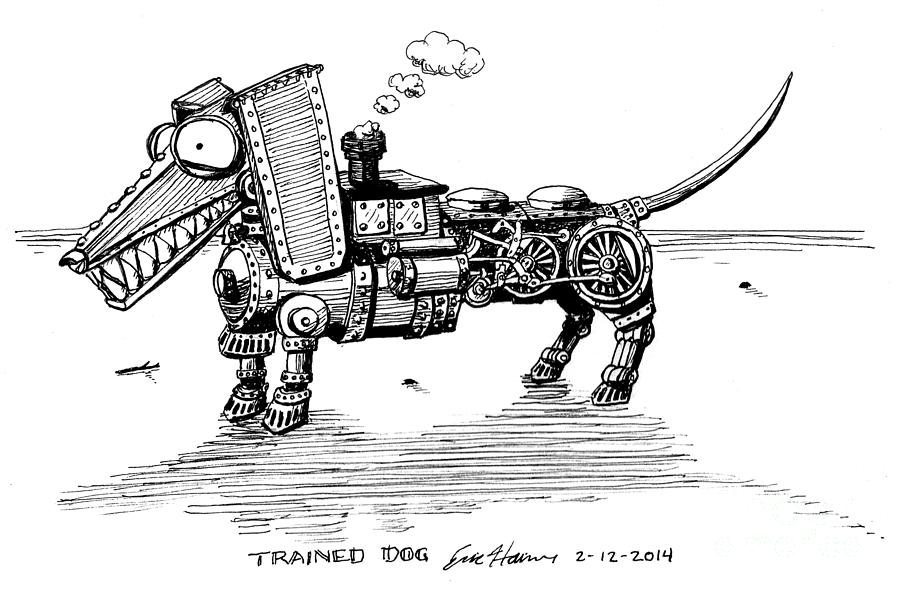 Steampunk Drawing - Trained Dog by Eric Haines