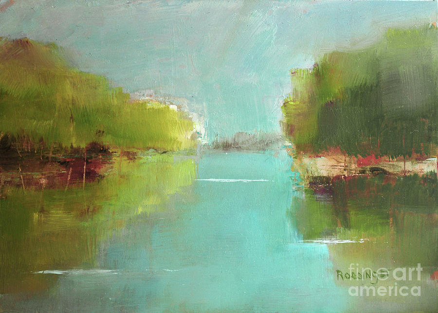 River Painting - Tranquil Water by Paint Box Studio