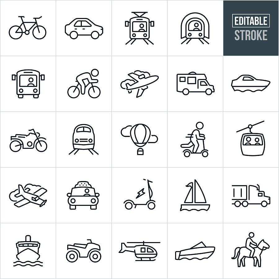 Transportation Thin Line Icons - Editable Stroke Drawing by Appleuzr