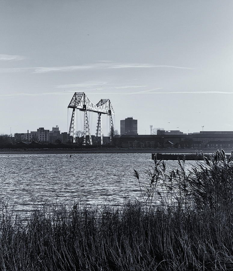 Transporter Bridge Monochrome Photograph