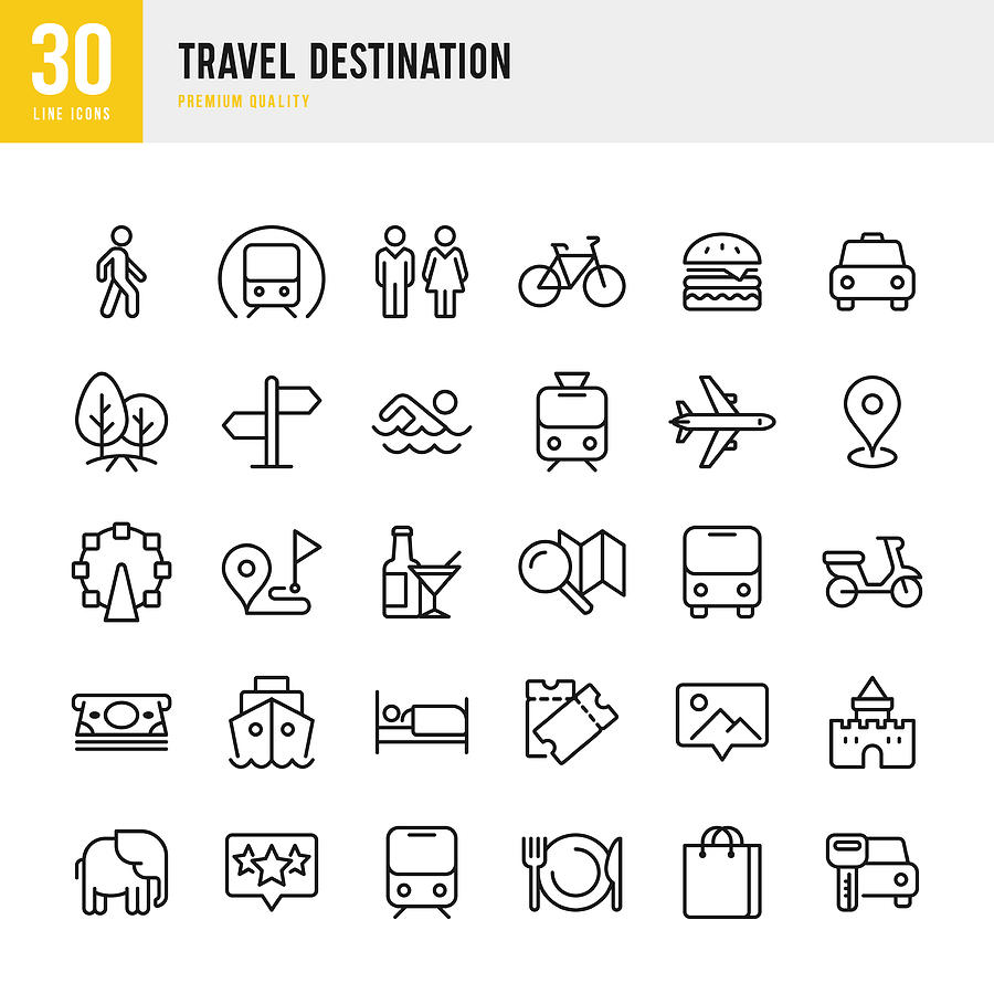 Travel Destination - set of thin line vector icons Drawing by Fonikum