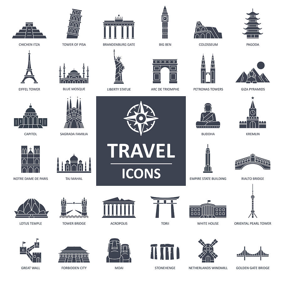 Travel Landmark Icons - Thin Line Vector Drawing by Pop_jop