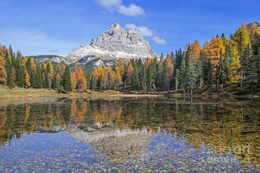 Tre Cime Di Lavaredo And Lago Dantorno In Autumn Photograph