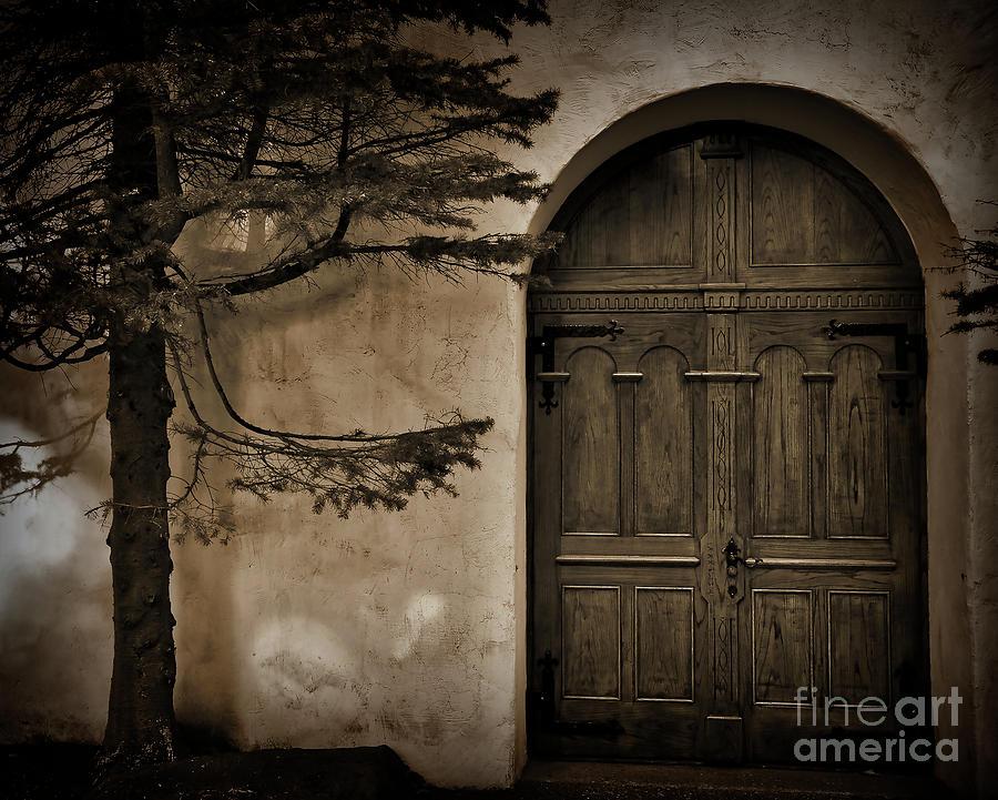 Chapel Digital Art - Tree And Chapel Door by Kirt Tisdale