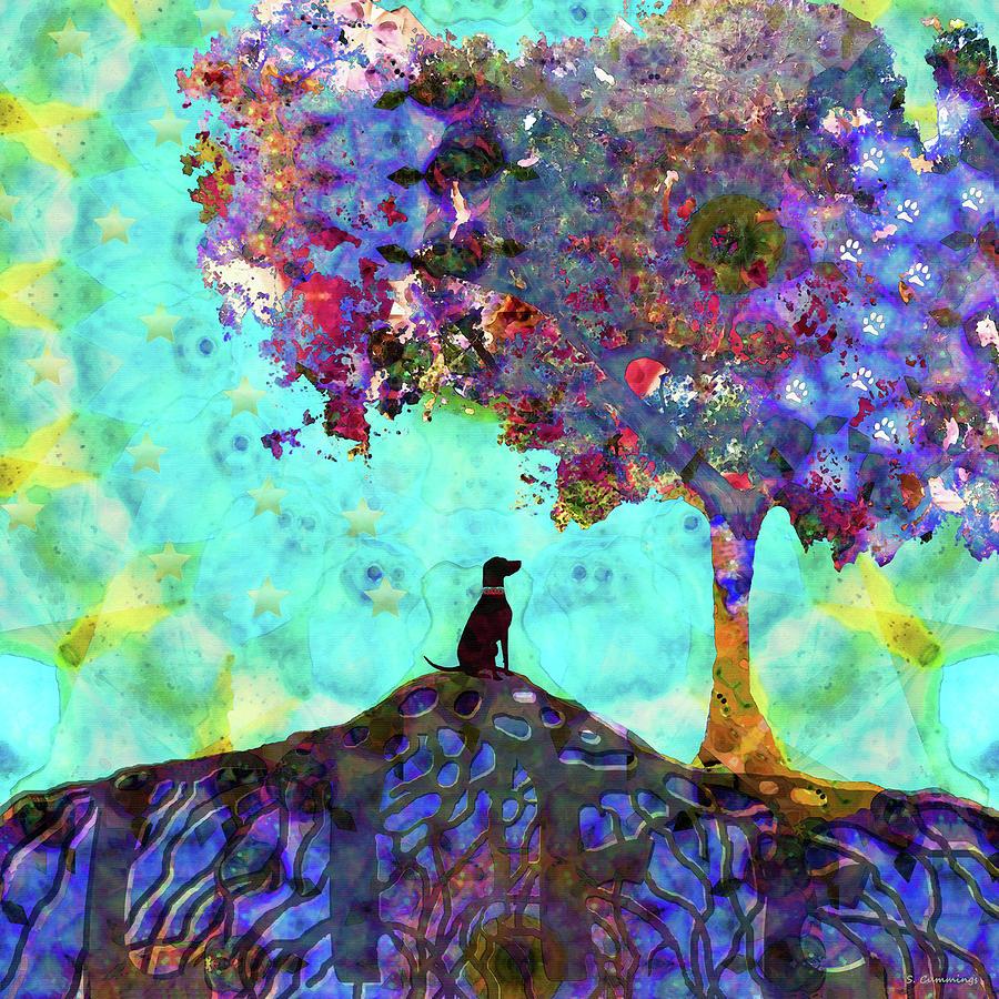 Dog Painting - Tree Of Life Art - Dog Is Life - Sharon Cummings by Sharon Cummings