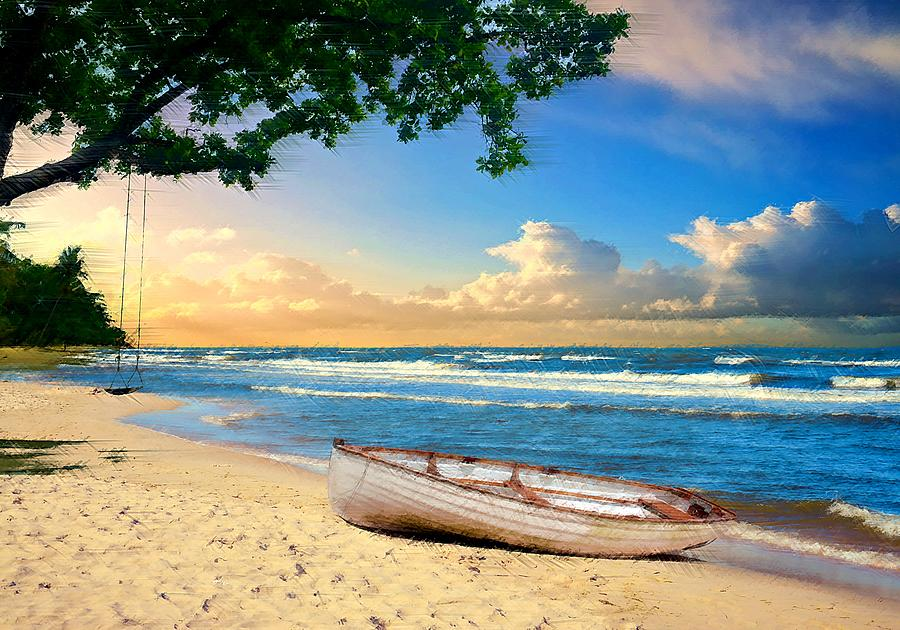 Rowboat Digital Art - Tree Swing and a Rowboat by David Manlove