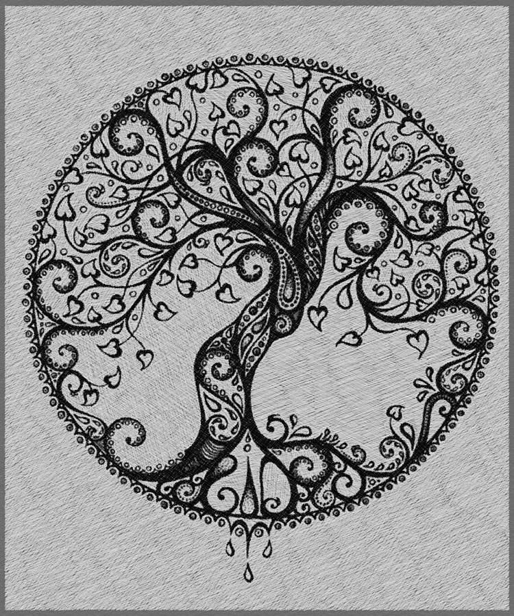 Tree Tattoo Drawing Gray Painting