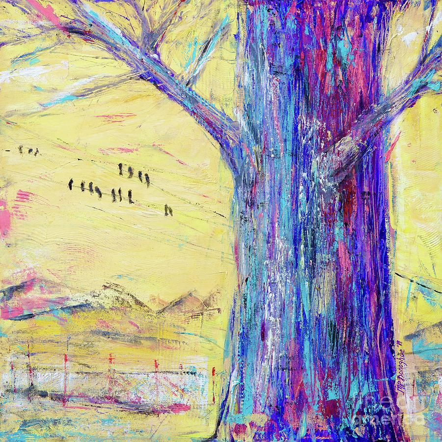 Tree Trunk On Yellow Sky Painting
