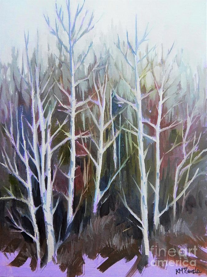Trees In Winter White Painting
