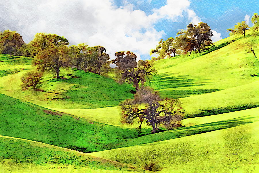 Trees On Rolling Hills - Watercolor Painting