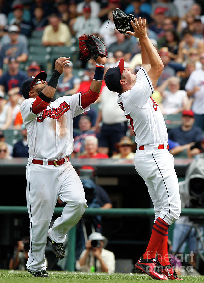 Trevor Bauer and Carlos Santana Photograph by David Maxwell