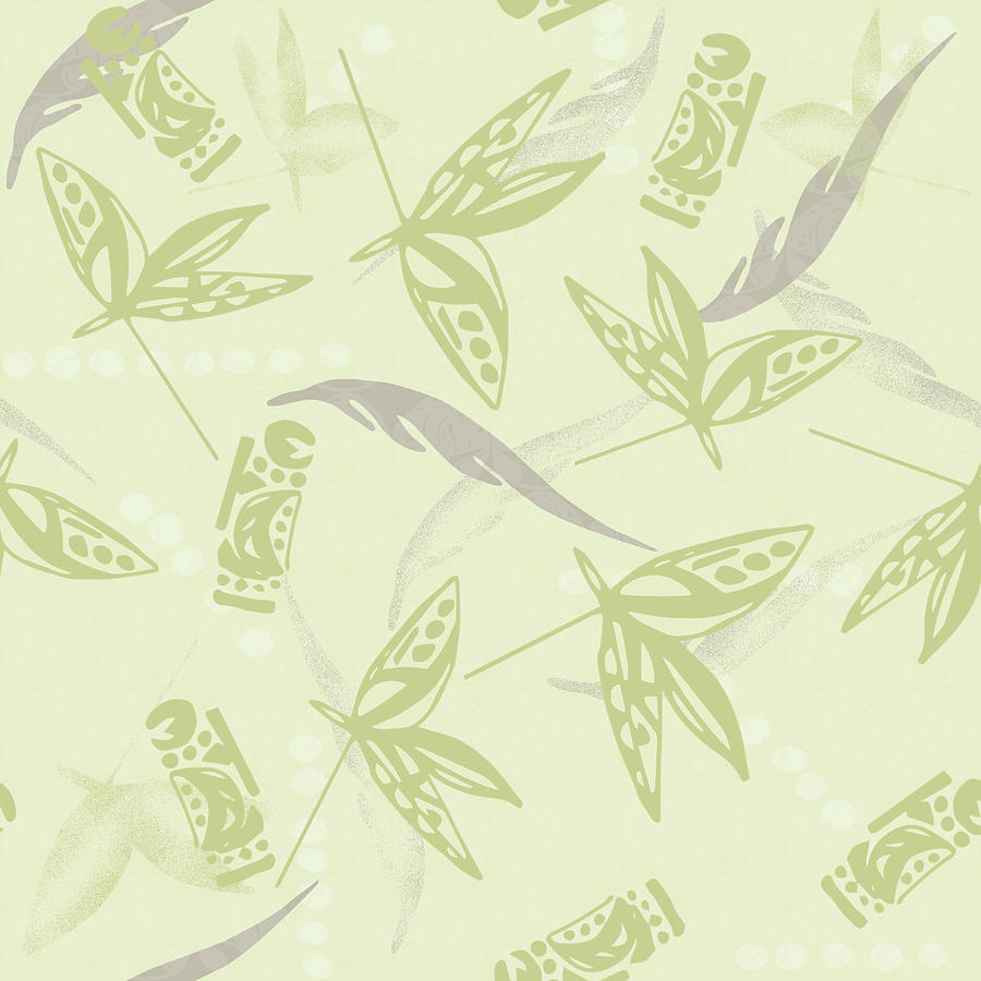 Tribal Leaves, Drums, And Feathers Pattern Digital Art