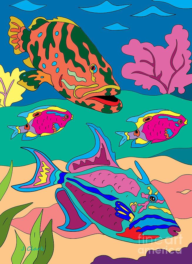 Triggerfish And Grouper Digital Art