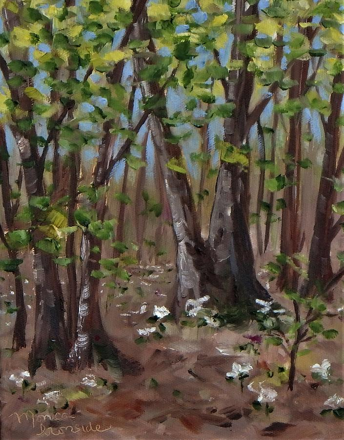 Landscape Painting - Trillium Forest by Monica Ironside