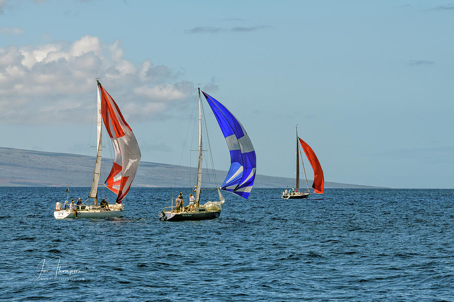Hawaii Photograph - Trio Sailing on the Breeze by Jim Thompson