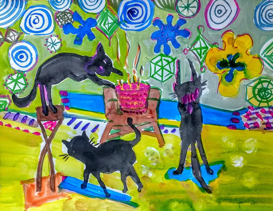 Cats Painting - Triple High Jinx by Joyce Lieberman
