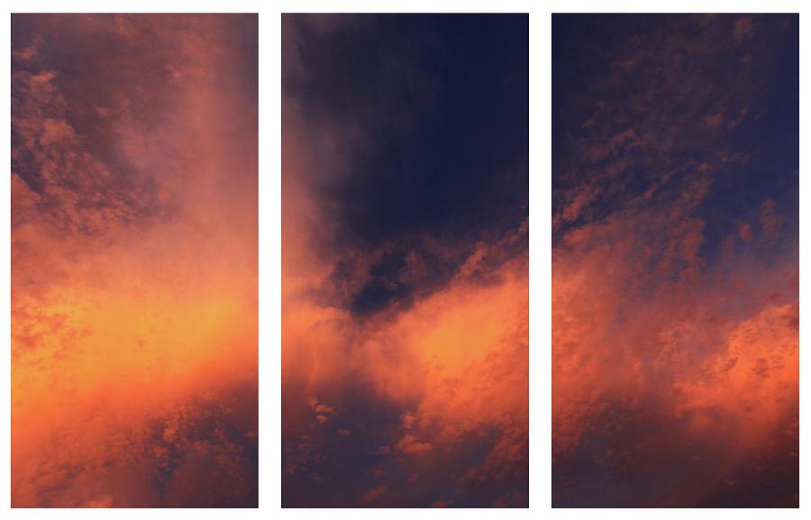 Triptych Photograph - Triptych Clouds by Alex Bond