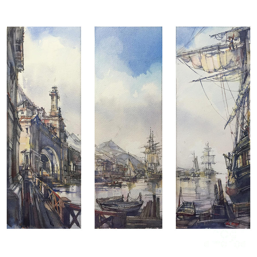 Watercolor Painting - Triptych - Harbour. by Andrey Svistunov