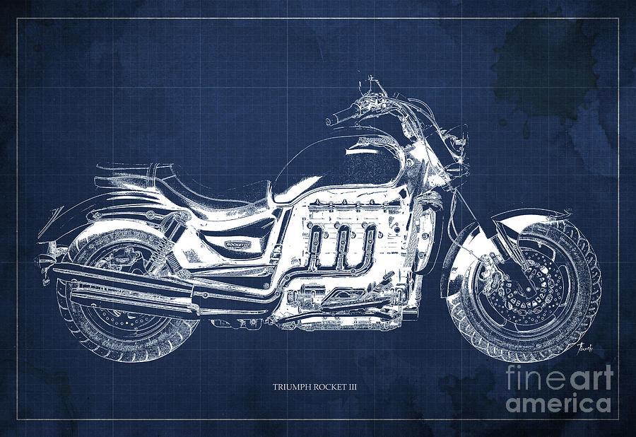 Triumph Rocket IIi Blueprint. Blue Background. Drawing