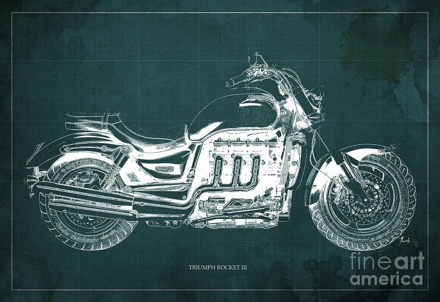 Triumph Rocket IIi Blueprint. Green Background. Drawing