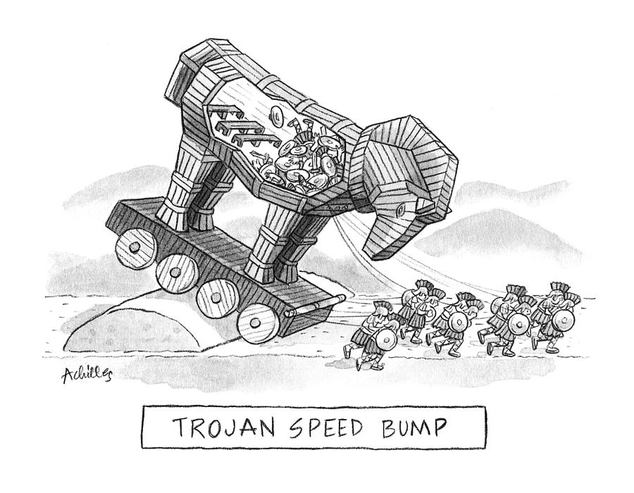 Trojan Speed Bump Drawing by Pat Achilles