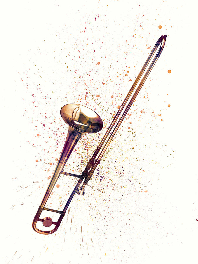 Trombone Abstract Watercolor by Michael Tompsett