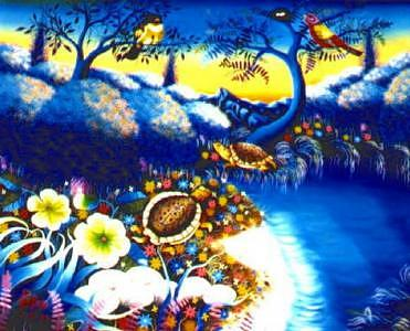 Tropical   Beauty 20x24 by Frantz Petion Painting by Frantz Petion