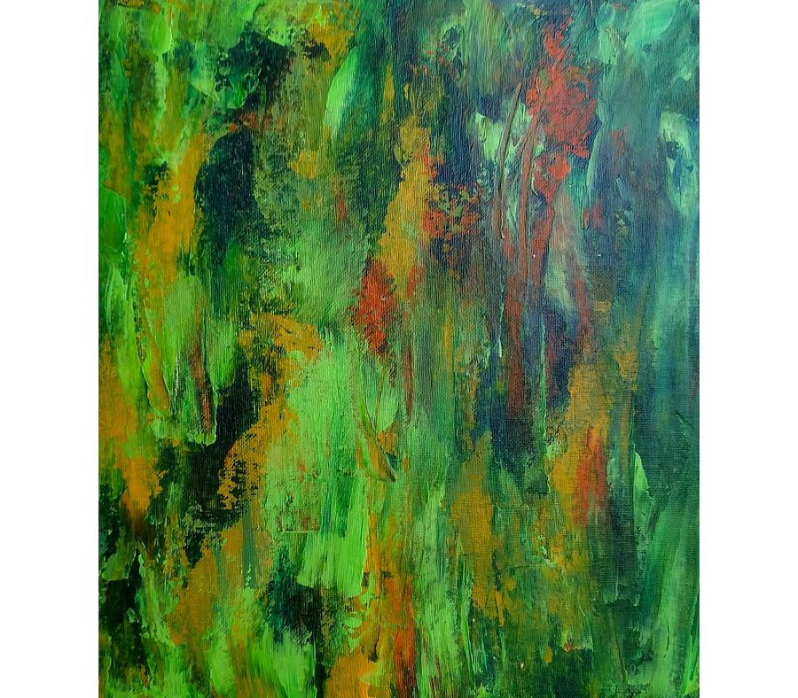 Green Painting - Tropical Forest by Vickie Hibler