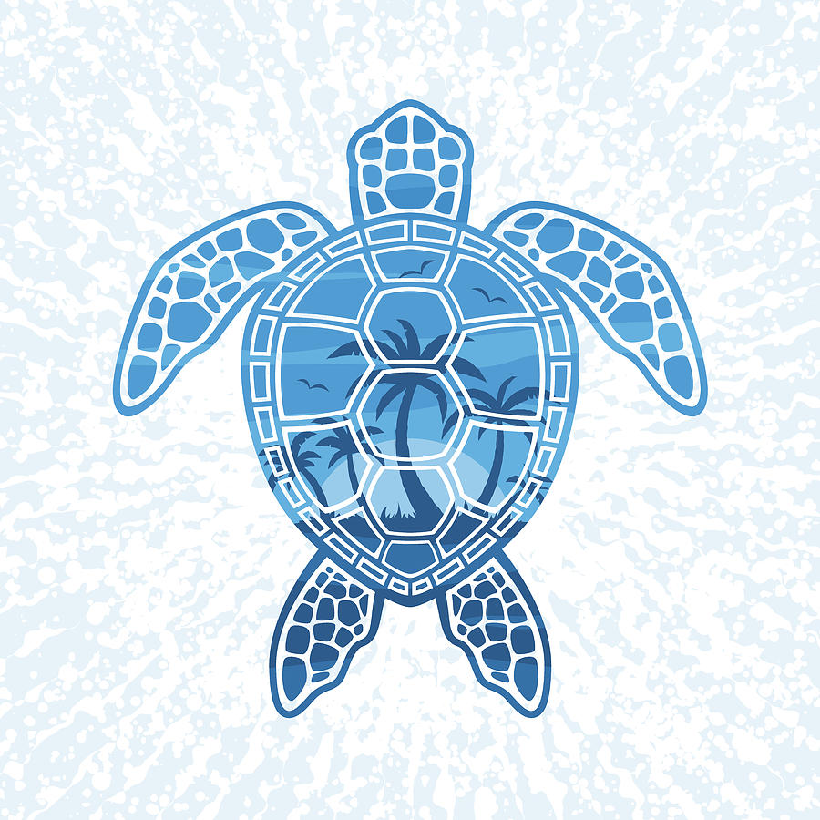 Tropical Island Sea Turtle Design In Blue Digital Art