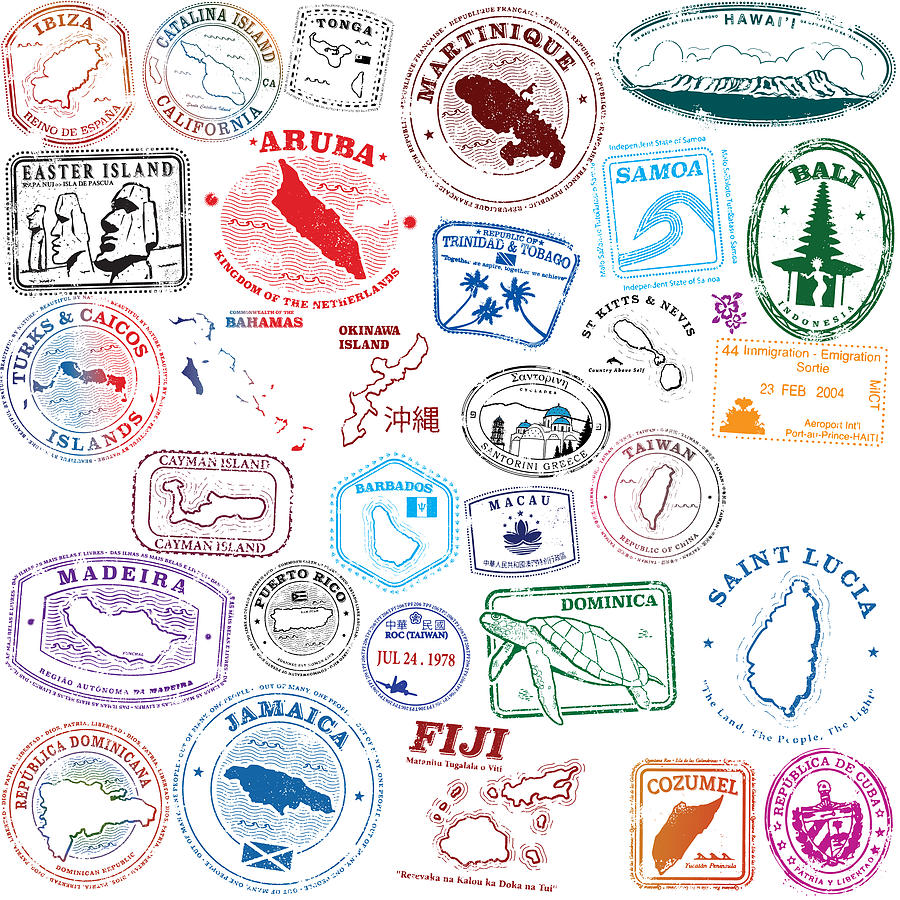 Tropical Island Stamps Drawing by Albertc111
