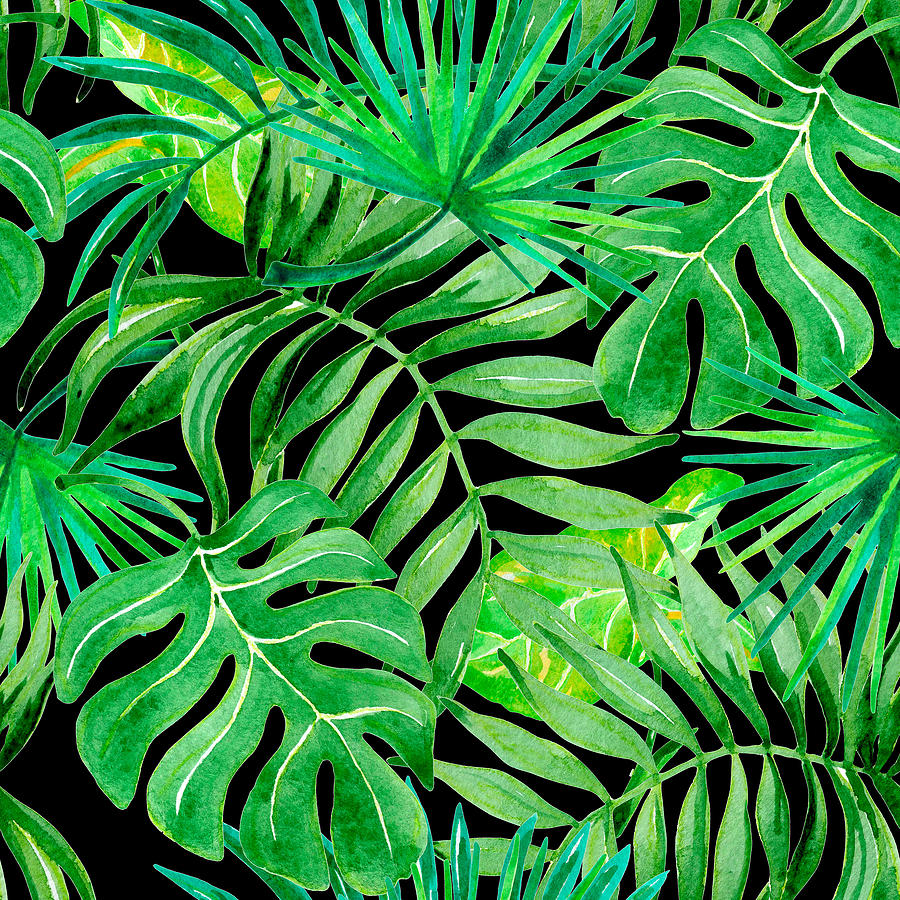 Tropical Leaves Seamless Patern Drawing